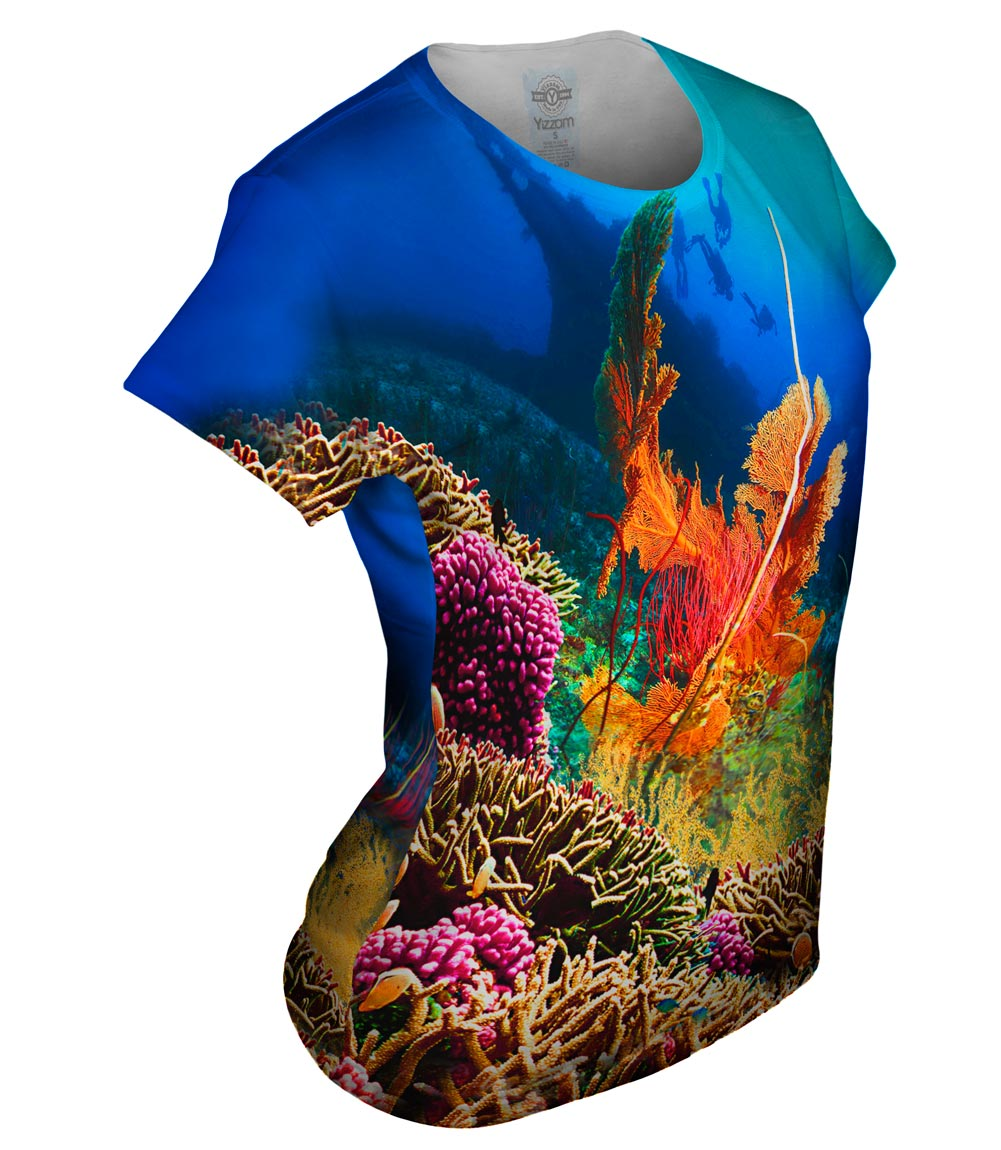 Yizzam coral reef 001 new womens top shirt tshirt xs s for Coral t shirt womens