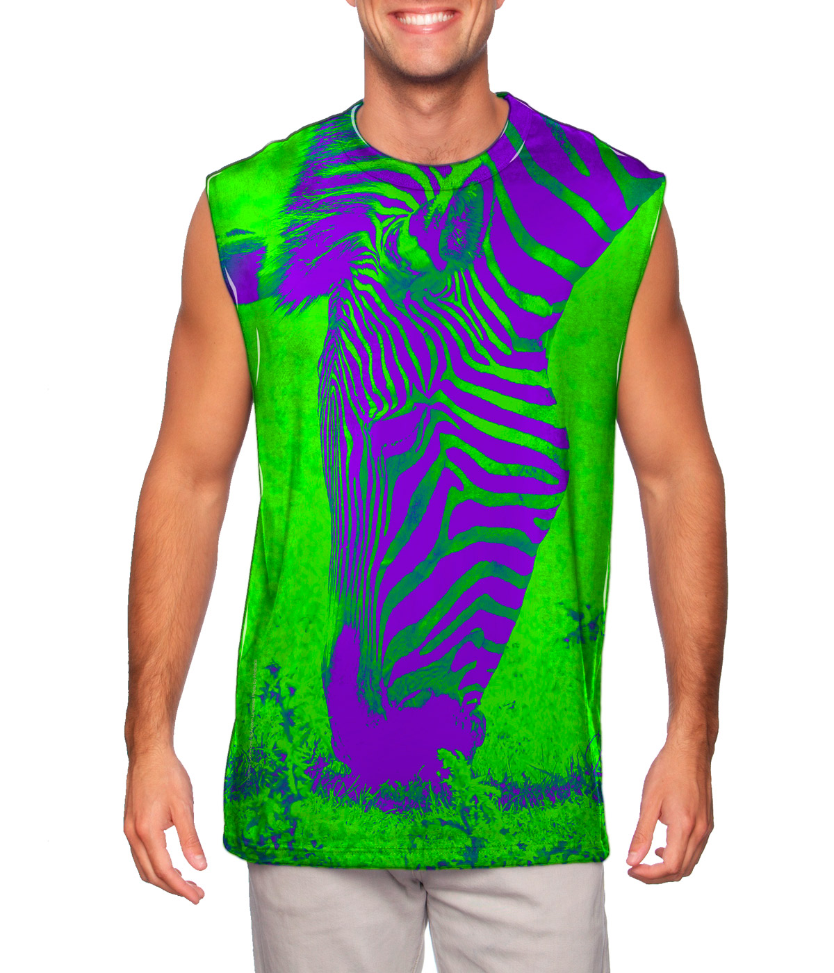 Yizzam neon purple green zebra new men muscle tee shirt for Neon green shirts for men