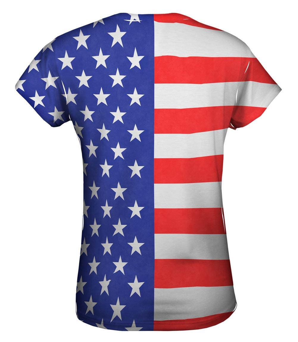 Yizzam American Flag New Womens Top Shirt Tshirt Xs S M
