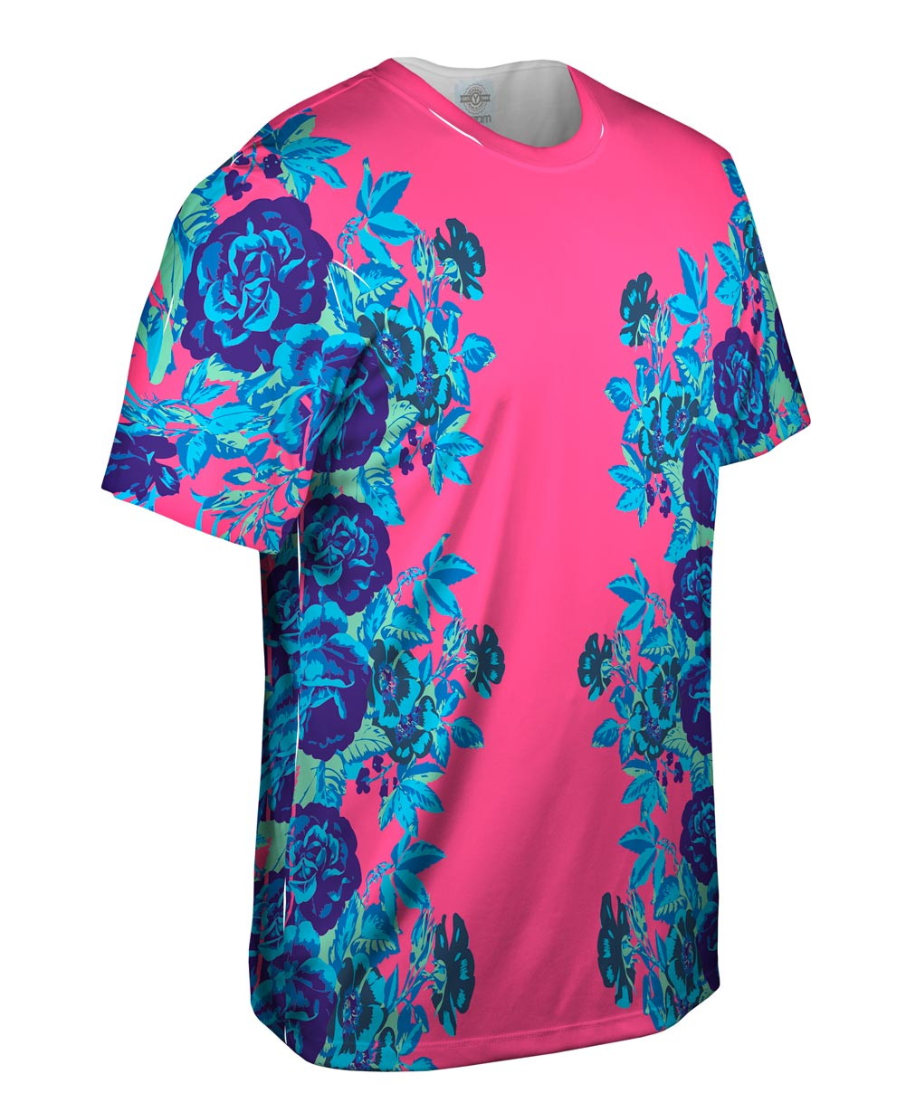 Yizzam floral print pink new men unisex tee shirt xs s for Floral mens t shirts