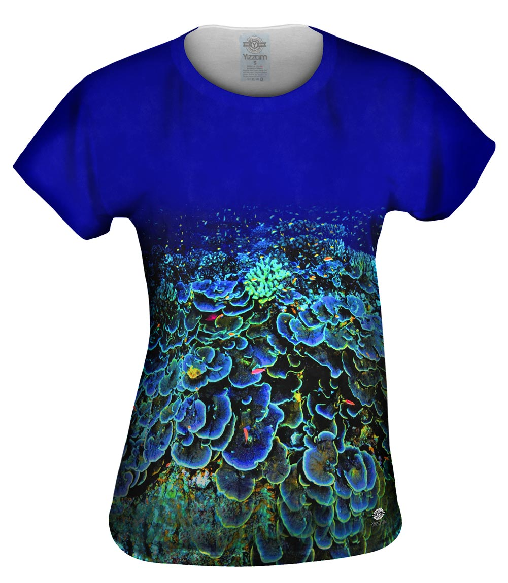 Yizzam coral reef color eruption new womens top shirt for Coral t shirt womens